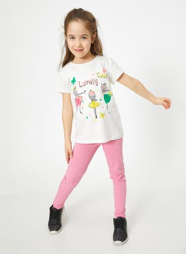 Koton Kids Yazili Baskili T-Shirt Ekru